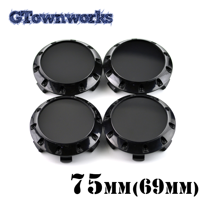 4 pcs 75mm Plastic <font><b>Wheel</b></font> <font><b>Center</b></font> Cap For <font><b>Car</b></font> Rim Black Chrome Hubcap Dust <font><b>Cover</b></font> with 10 Decorative Screws image