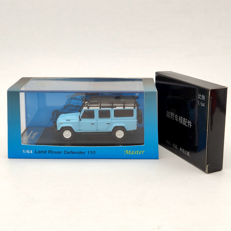 Master For L-R Defender 110 SUV Diecast Models Toys Car with Luggage Rack Collection Blue 1/64