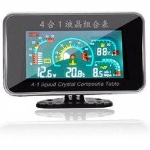 LCD Car Digital 4 Functions 12v/24v Truck Oil Pressure Gauge +Volt Voltage + Water Temperature +Fuel Meter
