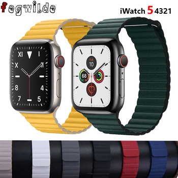 Leather loop strap For apple watch band correa apple watch 4 5 3 2 1 42mm iWatch 4 band 44mm 40mm 38mm Magnetic Closure bracelet