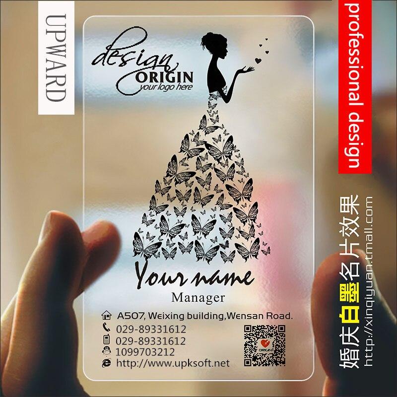 Wedding Design High-end PVC Transparent Business Card 200pcs / Lot Clothing Design PVC Transparent Business Card Customization