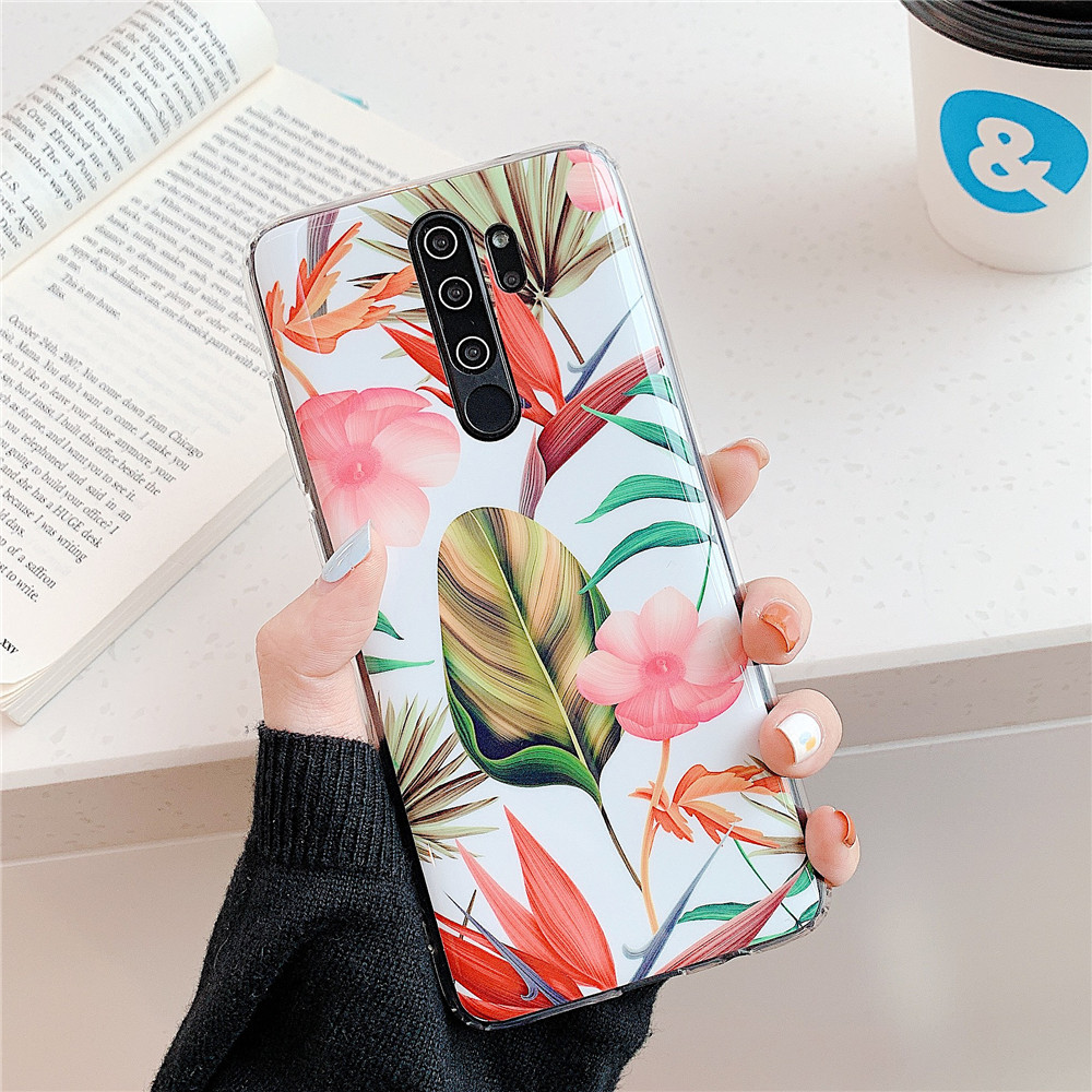 Luxury Vintage Flowers&Banana Leaf Phone Cases For Redmi Note 5 Note 6 Pro Soft IMD Back Cover For Redmi Note 7 Note 8 Pro Case