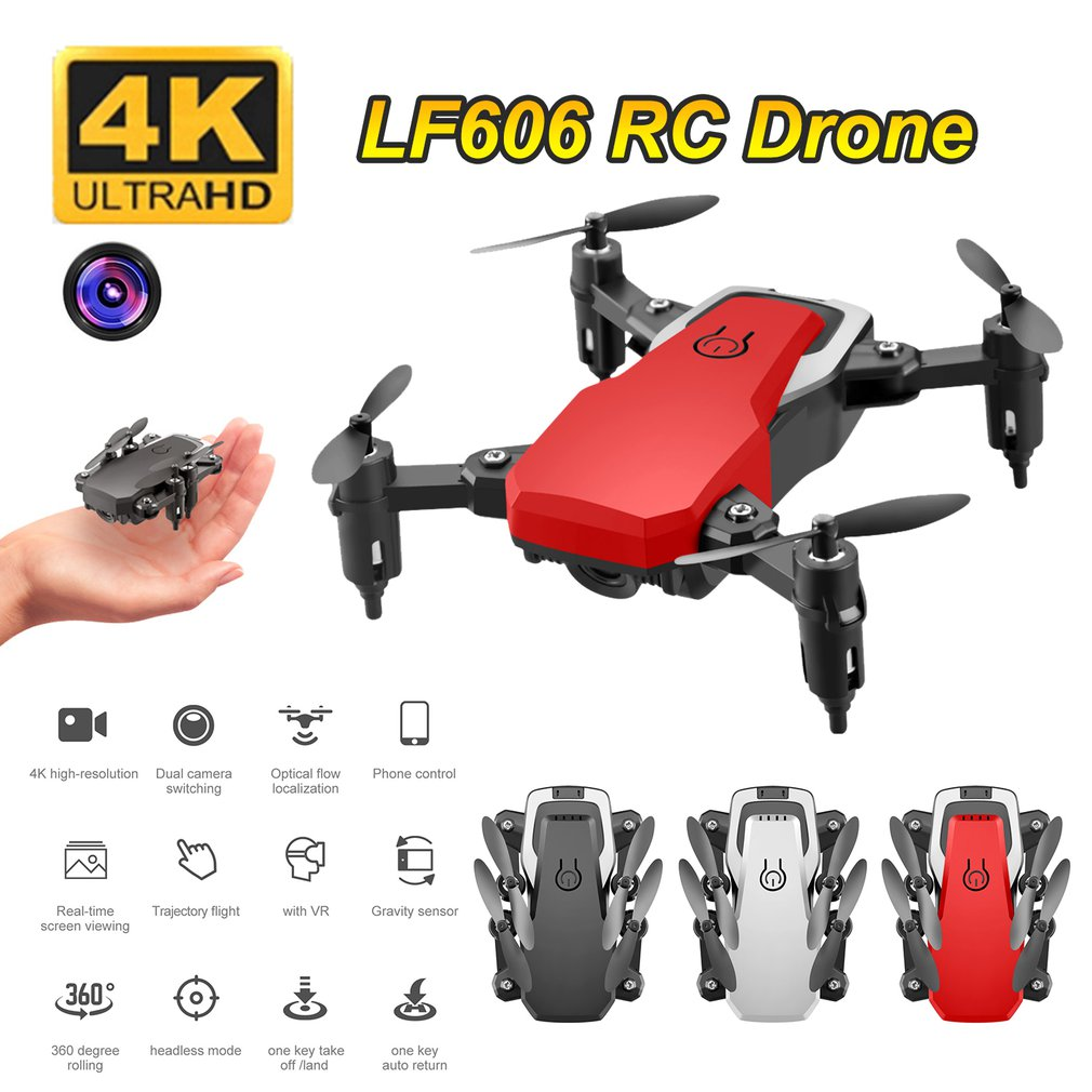 LF606 Wifi FPV Foldable RC Drone with 4K HD Camera Altitude Hold 3D Flips Headless Mode RC Helicopter Aircraft Airplane