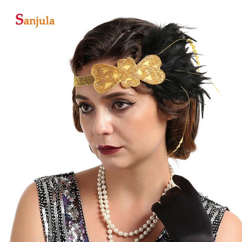 Цыганский стиль Черное перо Ретро Оголовье Потрясающие бисерные модели шоу головной убор Свадебные аксессуары для волос BQ007
