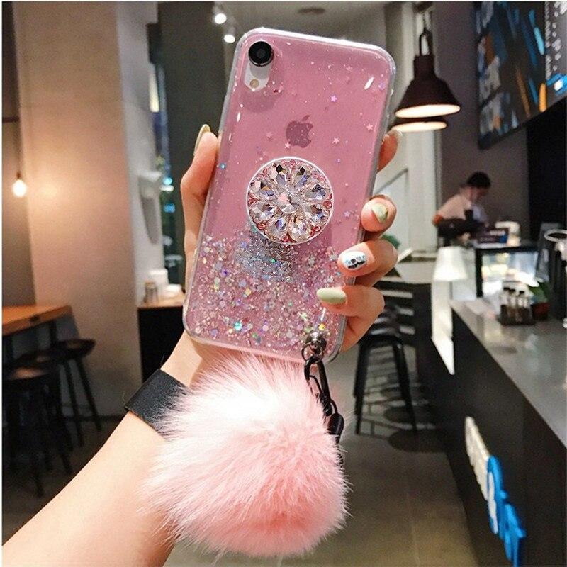 3D Diamond Holder Stand Glitter Hairball Soft Phone Case For Samsung A6 Plus J4 J6 Plus A8 A9 2018 A10 A40 A70 A80 A90 M10 20 30