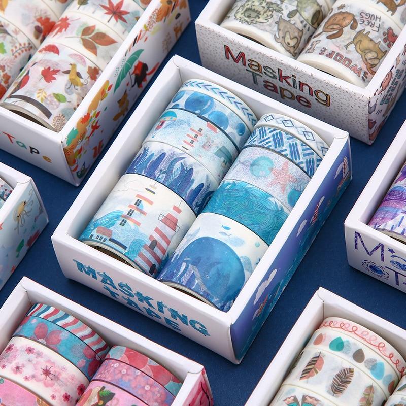 10Pcs/Set Washi Tape Masking Tape Stickers Scrapbooking Starry Sky Adhesiva Whale Washitape Bant Adhesive Flower Solid