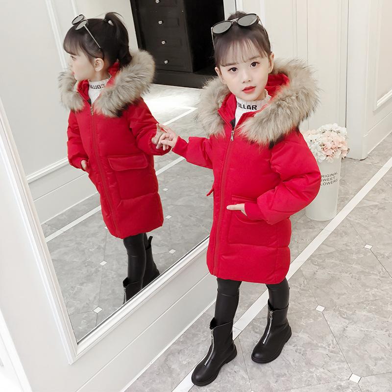 Girls Winter Warm Jackets Children Fashion Cotton-padded Jacket Kids Parka For Girls Thickening Fur Collar Outerwear & Coats