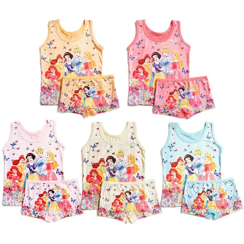 Summer 2020 Kids Girls Clothes Suits  2T-6T Anna Elsa Outfit Short Pants Set Spiderman Boys Vest Beach Princess Children Clothes