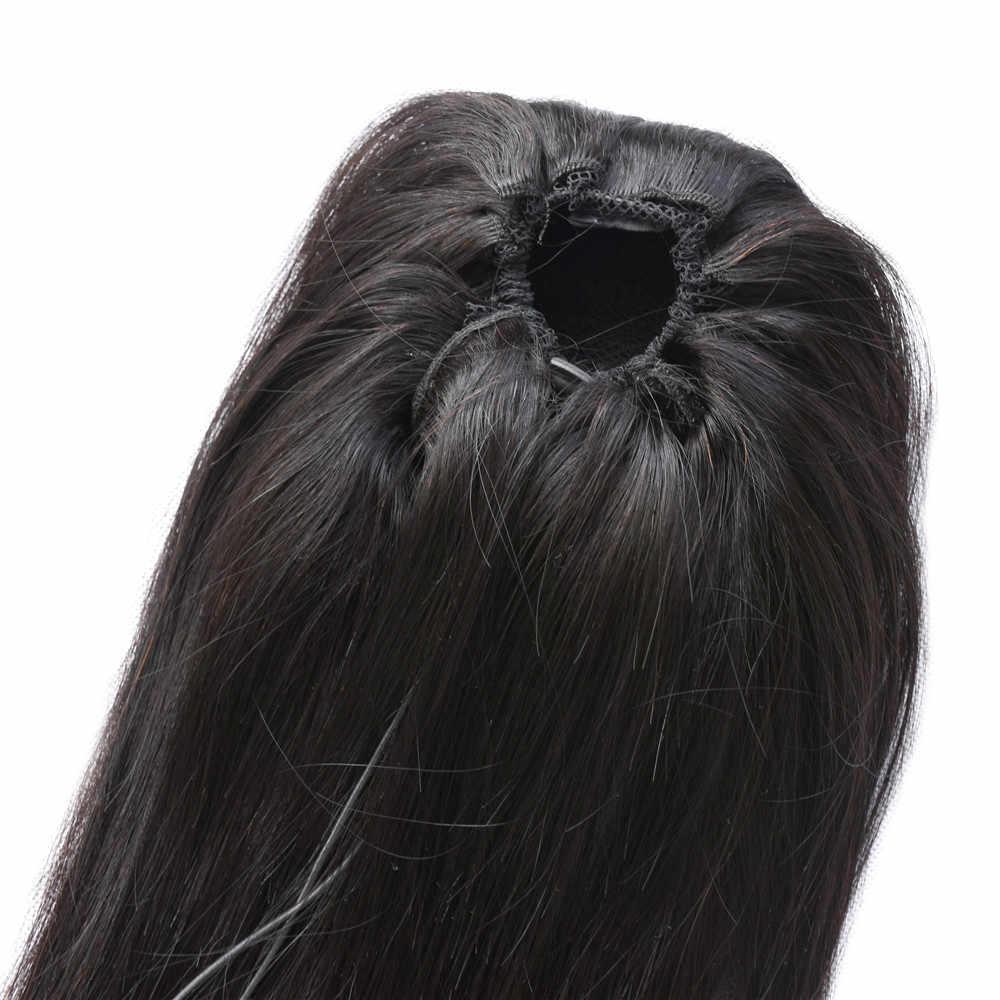 Прямая прическа «конский хвост» натуральный 4C зажим для наращивания волос перуанский хвост для наращивания натуральные волосы Реми два гребня