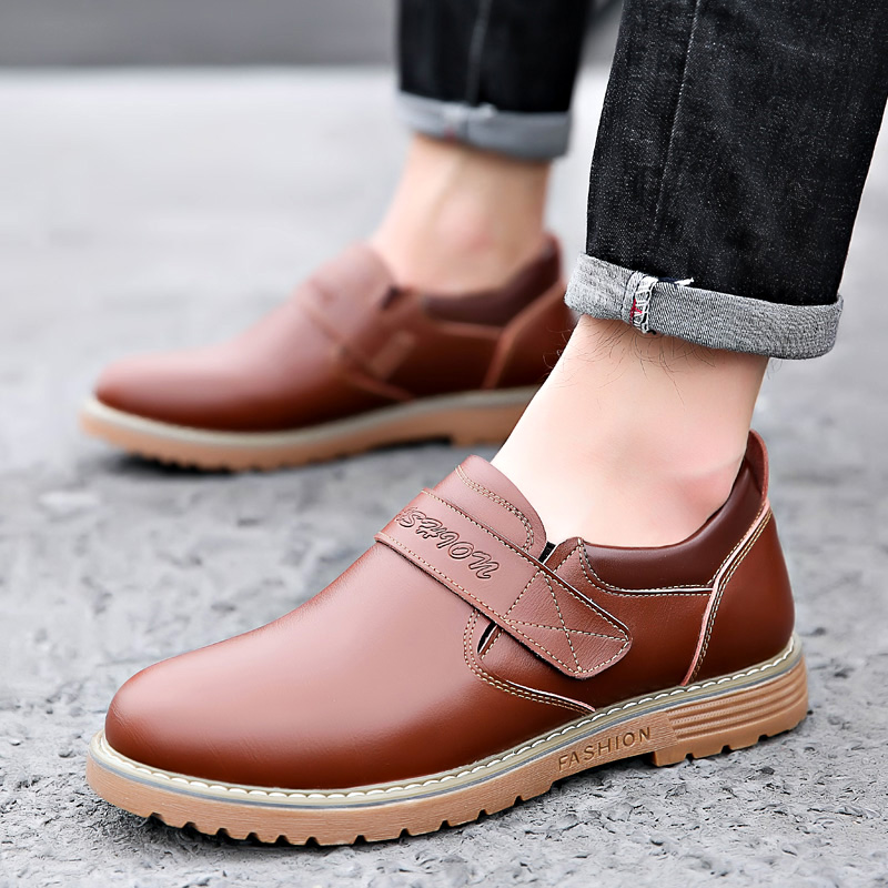 2019 new fashion men 39 s shoes casual leather loafers male solid brown black slip on shoe man nice driving shoes for men hot sale in Men 39 s Casual Shoes from Shoes