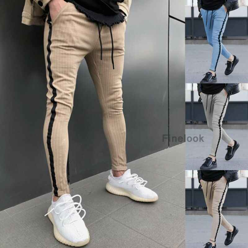 2019 Newest Hot Men Running Pants Casual Sport Long Pants Slim Fit Trousers Running Skinny Patchwork With Pocket Gym