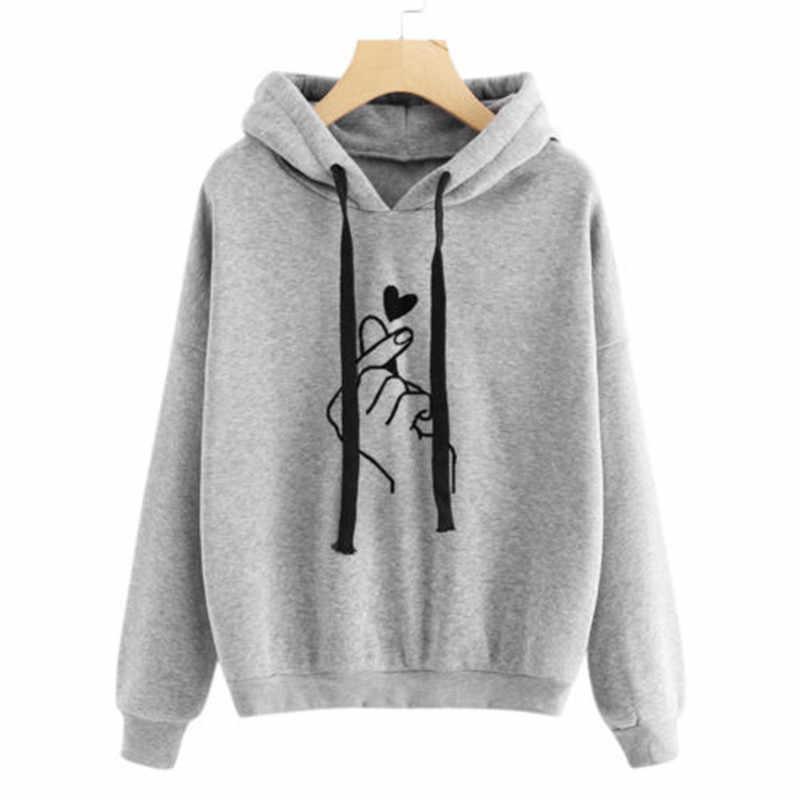하라주쿠 유니섹스 후드 티 스웨터 풀오버 탑 가을 겨울 여성 남성 유니섹스 하트 프린트 후드 캐주얼 긴팔 코트