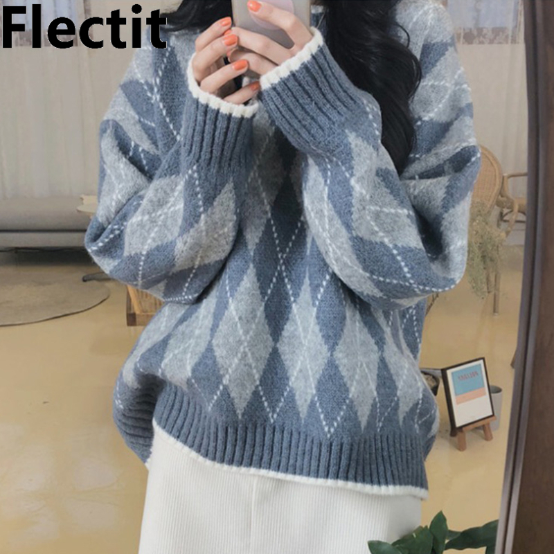 Flectit Preppy Style Argyle Sweater For Women Long Sleeve Drop Shoulder Crew Neck Cozy Jumper Winter Knit Tops *