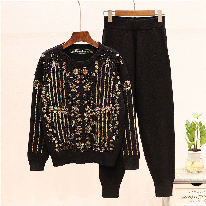 Brand new high quality women's leisure suit beading sequins sweaters+knit pants two piece set women sweat suit A994