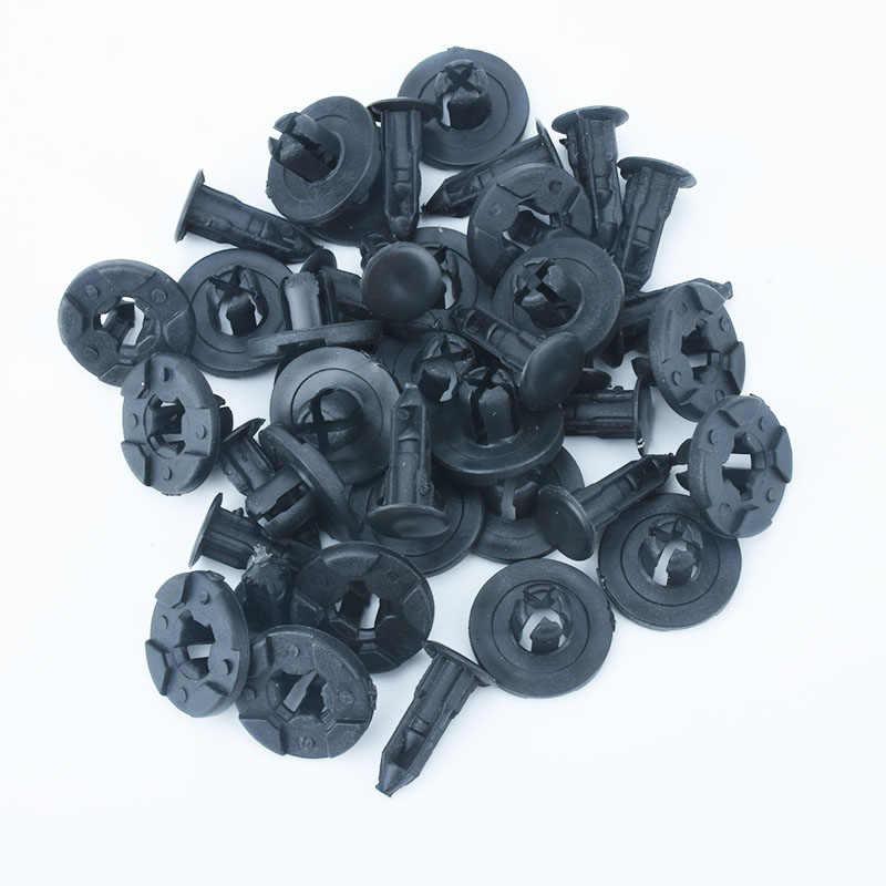 50 adet oto Fastener Nissan Toyota için 8mm delik çamur Flaps çamurluk tampon perçinler araba kapı pervazı paneli plastik sabitleme klipleri