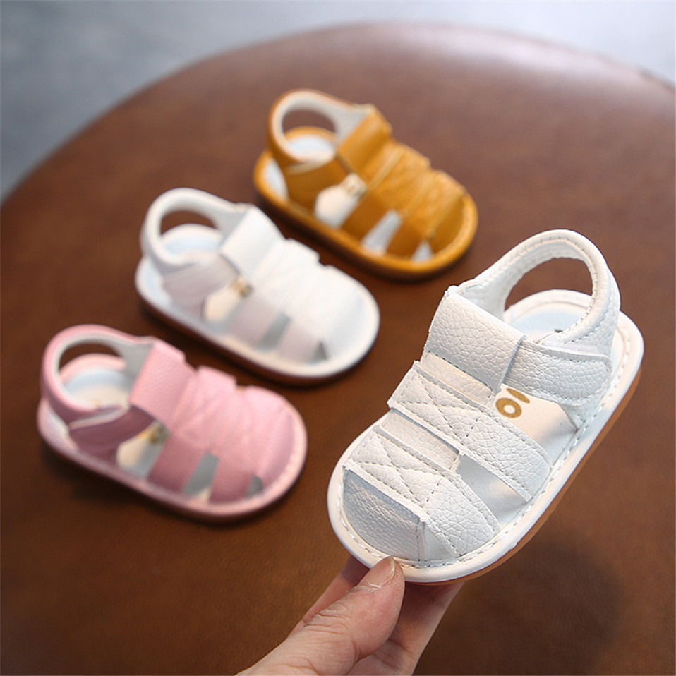 2020 Summer Baby Shoes Summer Crystal Princess Shoes Toddler Cute PU Leather Flat Shoes Hard Sole Shoes