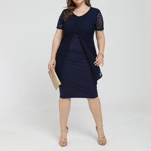 Plus Size Summer Women Casual O Neck Solid Lace Short Sleeve Dress Female Elegant Knee Length Dress Fashion Party Ladies Dresses short sleeve white lotus printing o neck women dresses casual cotton linen knee length dress vestidos summer plus size