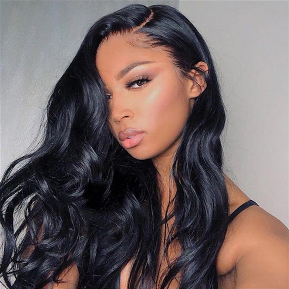 13*4 ondulado preto curto bob sintético 180% perucas da parte dianteira do laço com parte lateral para o cabelo da fibra do calor das mulheres peruca de uso diário realista