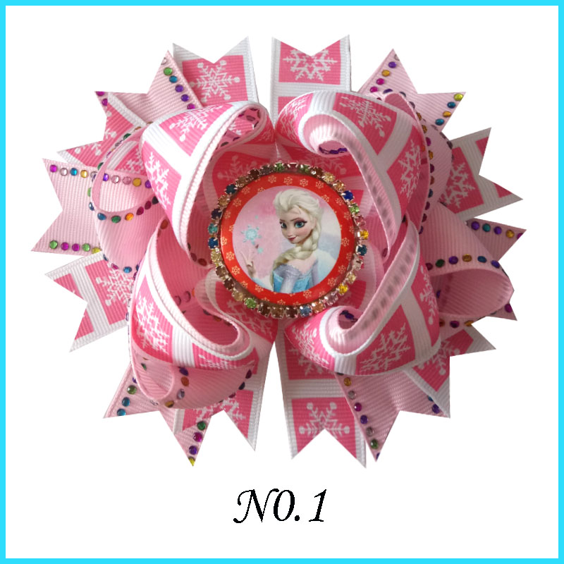 """50 BLESSING Happy Girl 5.5/"""" B Princess Hair Bow Clip Cinderella Frozen Hairbow"""