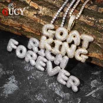 GUCY A-Z Custom Name Bubble Letters Pendant & Necklace Charm Men's CZ Hip Hop Jewelry With Gold Silver Tennis Chain - DISCOUNT ITEM  40% OFF All Category
