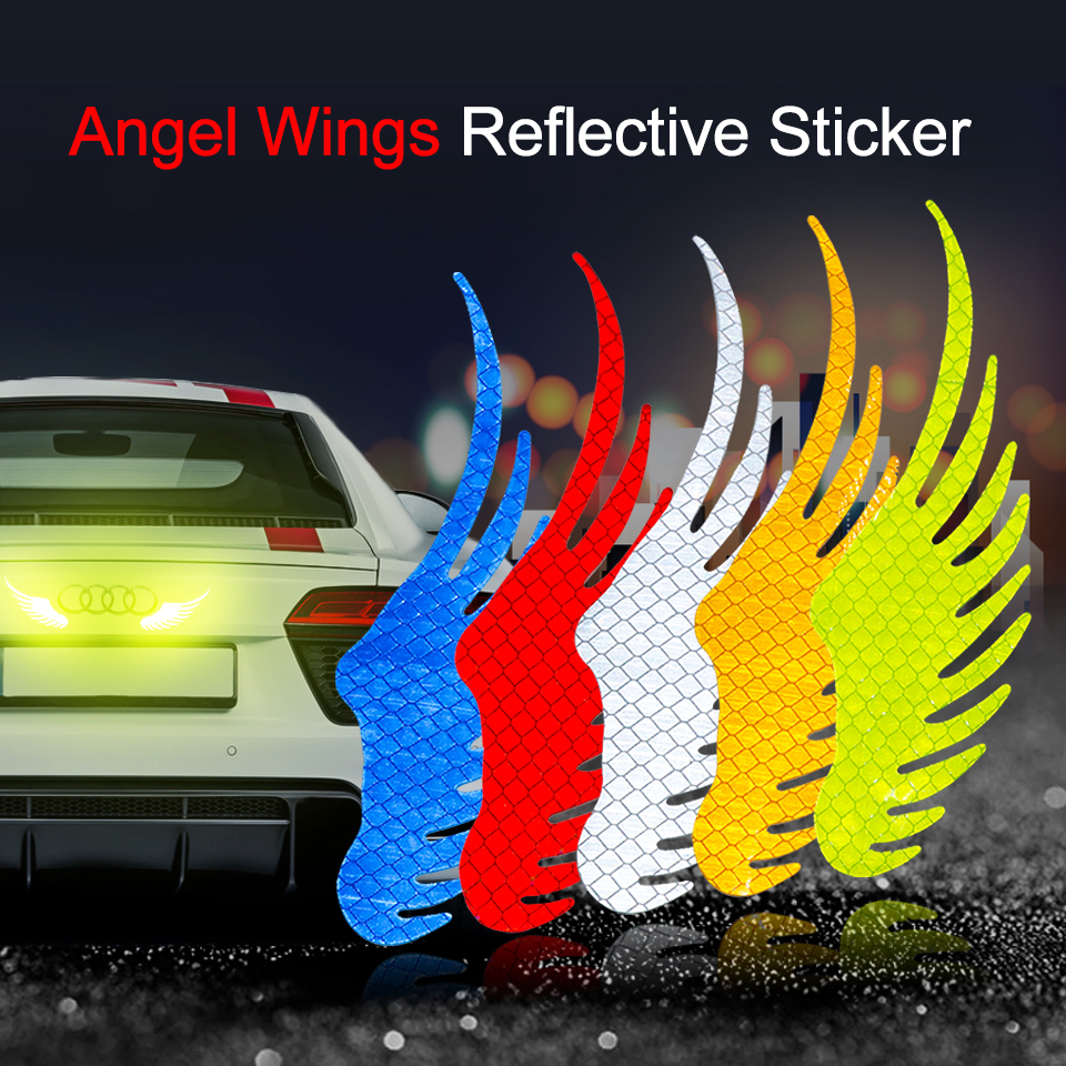 Safety Warning  Reflective Car Sticker Angel Wings Reflective Warning Sign Funny Bike Decal Sticker Motorbike Reflective Sticker