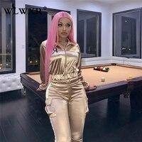 WLWXR повседневный комплект из двух предметов женский спортивный костюм светоотражающий женский спортивный костюм женский сексуальный укор...