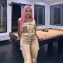 WLWXR Casual Two Piece Set Women Sweat Suit Reflective Ladies Tracksuit Female S
