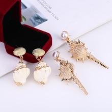 HOCOLE Trendy Sea Shell Drop Earrings For Women Gold Color Geometric Earring Summer Beach 2019 Fashion Boho Ladies Jewelry