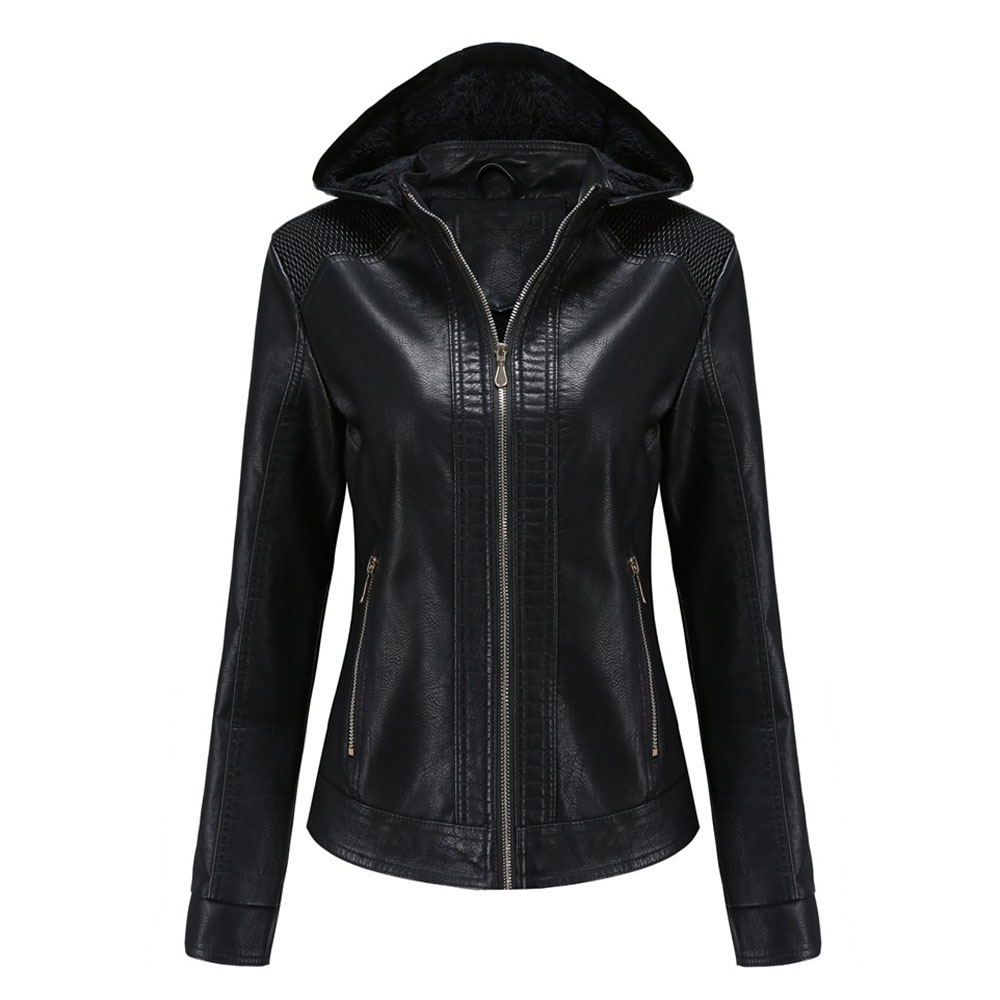 Gothic Punk PU Faux Leather Jacket Hooded Women Classic Moto Biker Jacket Autumn Winter Lady Basic Coat Solid Casual Outerwear