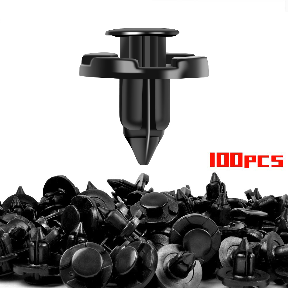 100PCS Push Type Retainer Clips 8mm Fender Liner Clips for Nissan Infiniti Trim Rivet Body Fasteners Replace OEM: 01553-09321