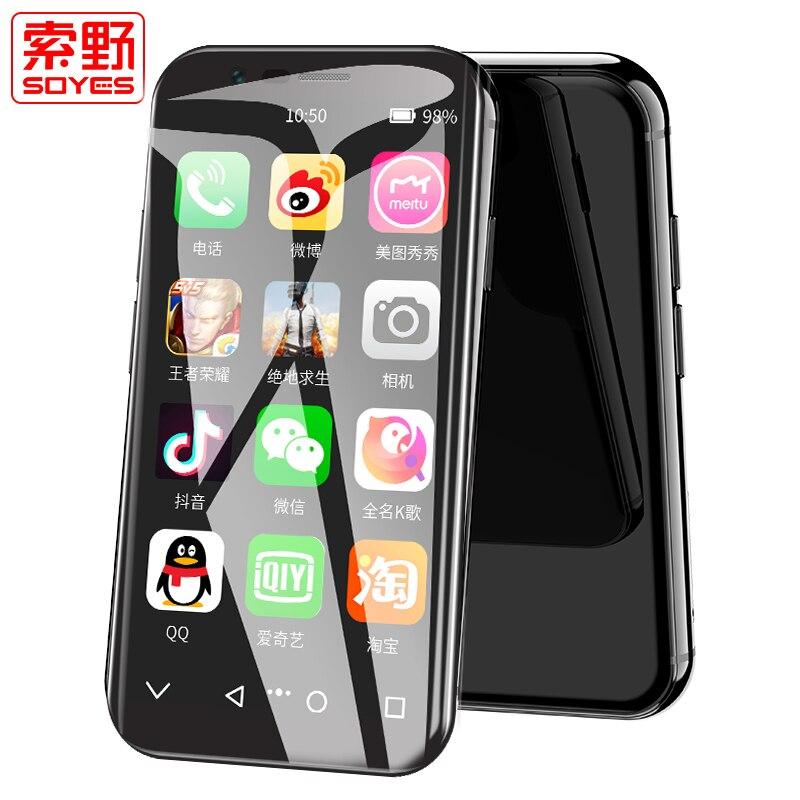 """Soyes xs mini 4g smartphone suporte google play 3 gb + 32 gb 2 gb + 16 gb 3.0 """"telefone móvel android 6.0 desbloqueado dupla sim face id"""