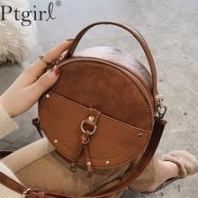 Vintage Scrub Leather Round Designer Crossbody Bag For Women Ptgirl PU Shoulder Bags Ladies bolsos mujer de marca famosa