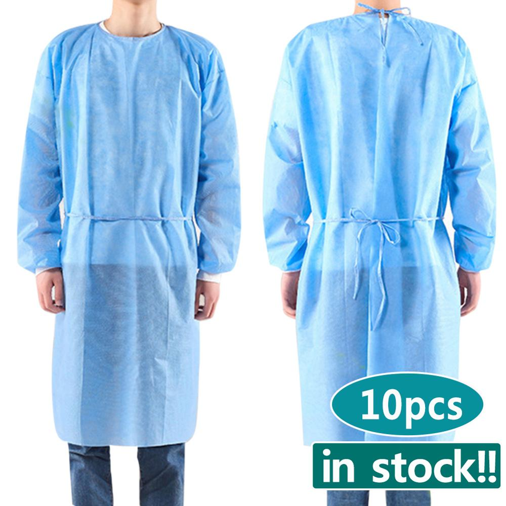 10pcs/set Disposable Isolation Clothes Non-woven Security Protection Suit Disposable Bandage Coveralls Labour Suit In Stock!!