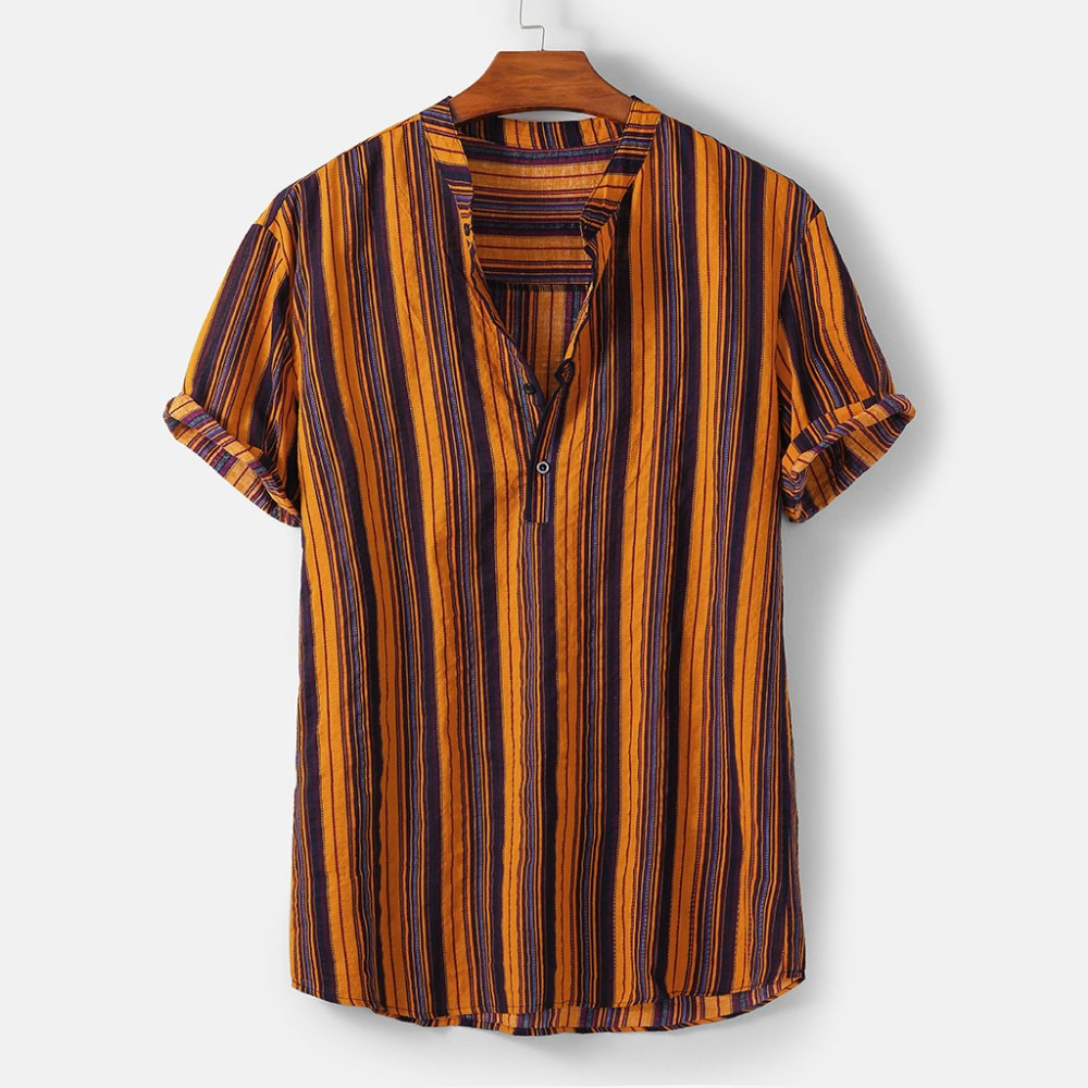 Fashion-Striped-Men-Shirt-Stand-Neck-Button-Streetwear-Casual-Brand-Shirts-Men-Hip-hop-Short-Sleeve