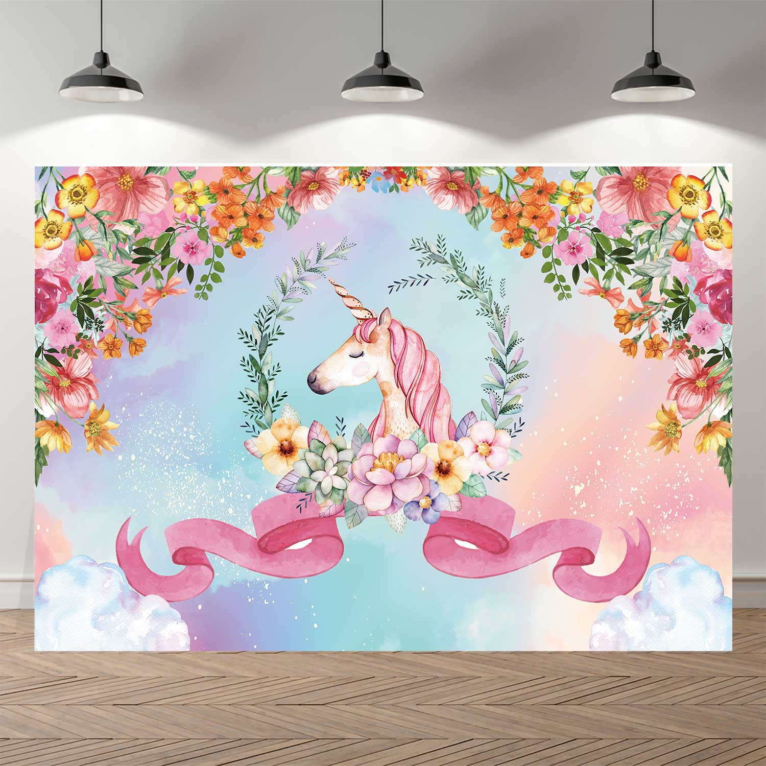NeoBack Spring Floral Unicorn Ribbon Sky Cloud Photo Backdrop Birthday Photography Background for Children Party Decorations