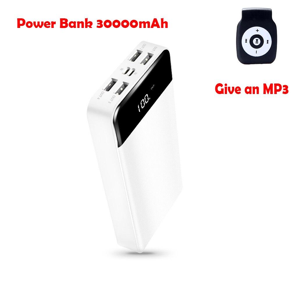 Véritable 30000 mAh batterie externe USB type-c 30000 mAh Pover appauvrbank 4 Ports USB pour Huawei Xiaomi batterie externe Pack Powerbank