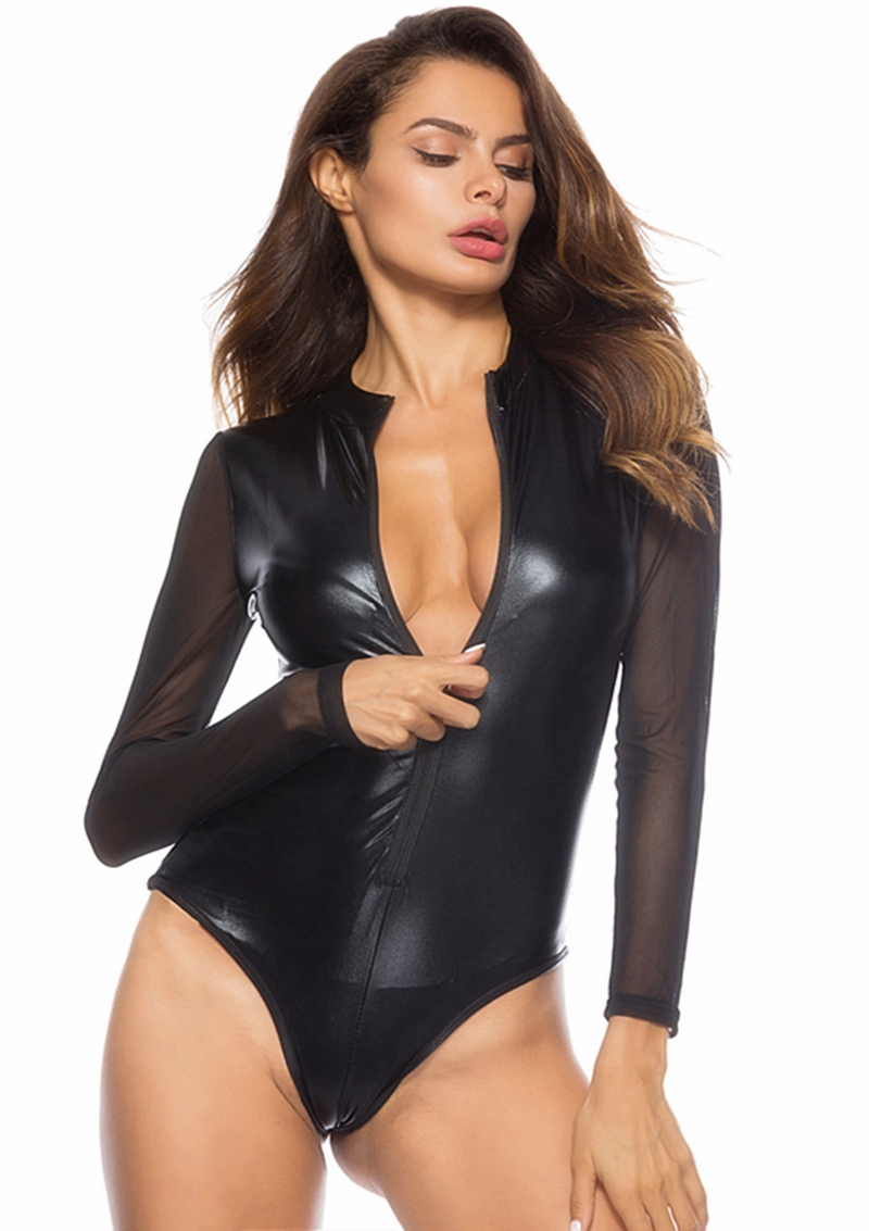Women Sexy High Cut Pu Faux Leather Lingerie Mesh Long Sleeve Bodysuits Erotic Leotard Costume Fetish Hot Latex Catsuit Clubwear