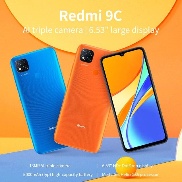 "Xiaomi Redmi 9C Global Version Xiaomi SmartPhone 13MP Rear Camera MTK Helio G35 6.53"" Large Display 5000mAh 2"