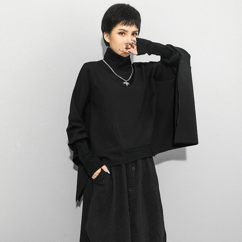 [EAM] Loose Fit Black Irregular Split Joint Sweatshirt New Turtleneck Long Sleeve Women Big Size Fashion Tide Autumn 2020 1Z299 2