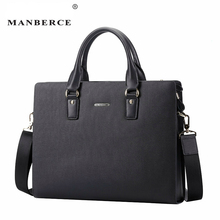 MANBERCE 2019 New Mens Genuine Leather Male Man Laptop Bag Natural for Briefcases Two-color Optio Free Shipping