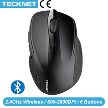 Ratón inalámbrico Bluetooth TeckNet para ordenador portátil 1200/1600/2000/2600DPI dos ratones Bluetooth con pilas AAA para PC Notebook Windows