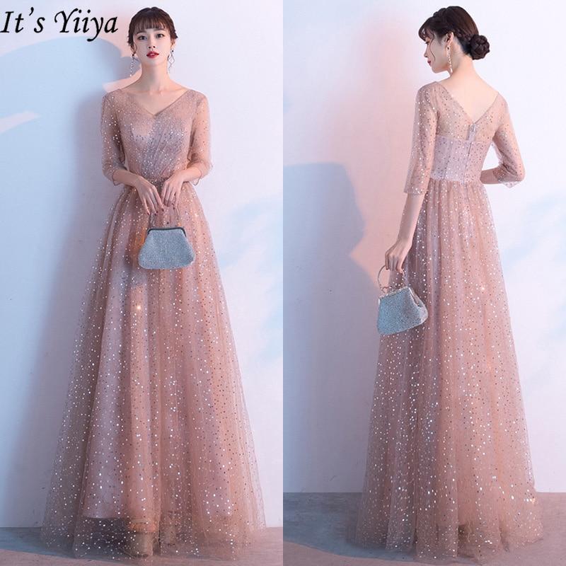 It's Yiiya Evening Dress Long For Women Plus Size Robe De Soiree Half Sleeve Shining Eveing Gowns V-neck Formal Dresses LF196
