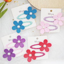 2Pcs/set Peral Flower Hair Clips For Girls Cute Candy Colors Pins Kids Metal BB Baby Hairpin Bow Barrettes Accessories