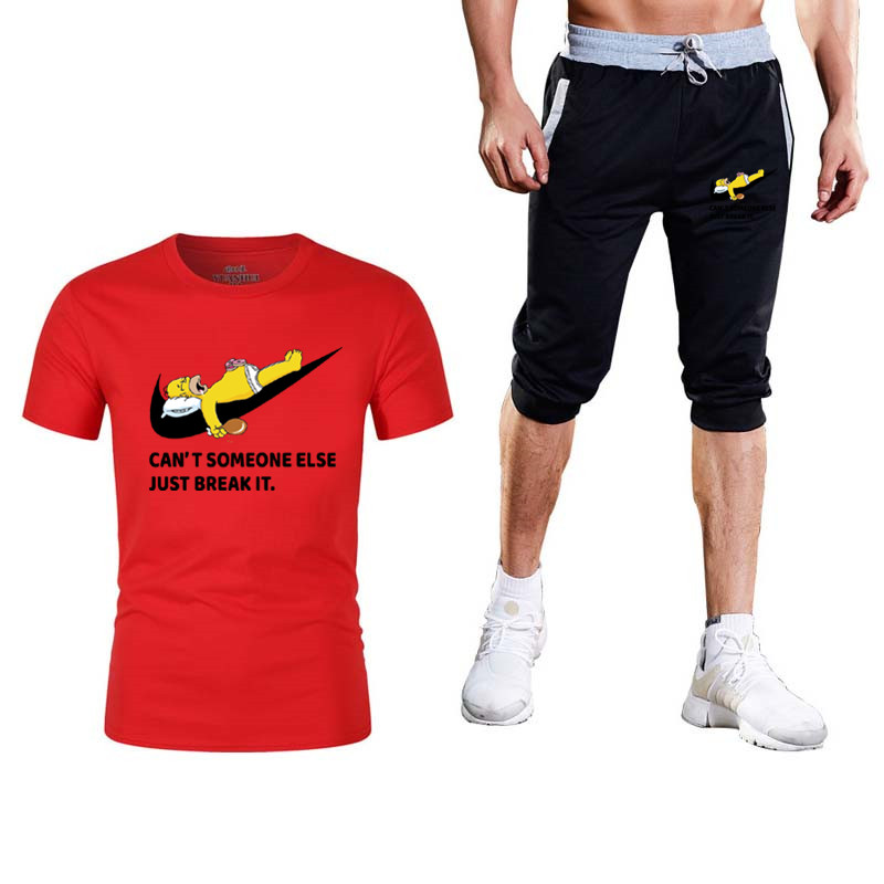 2020 New Printed Men's Short-sleeved T-shirt Fashion Casual Loose T-shirt + Jogging Sports Pants New Men's