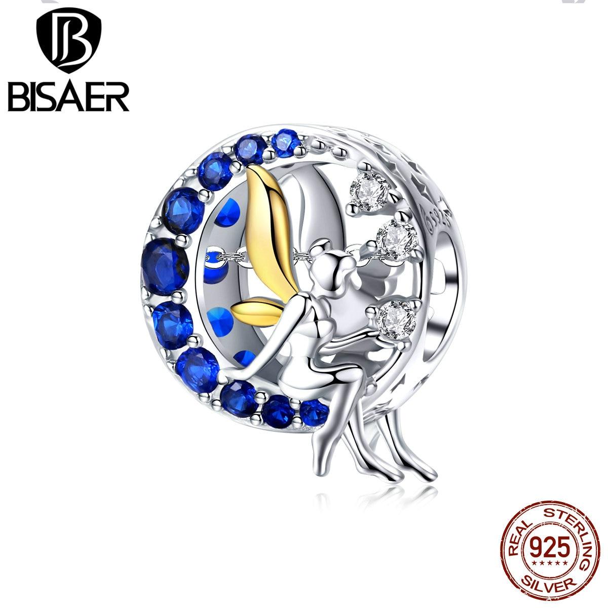 BISAER 2019 новый 925 пробы серебряная ночь Фея круглые бусины амулеты ангелы шарма серебряные браслеты-Обручи 925 ювелирные изделия EFC070