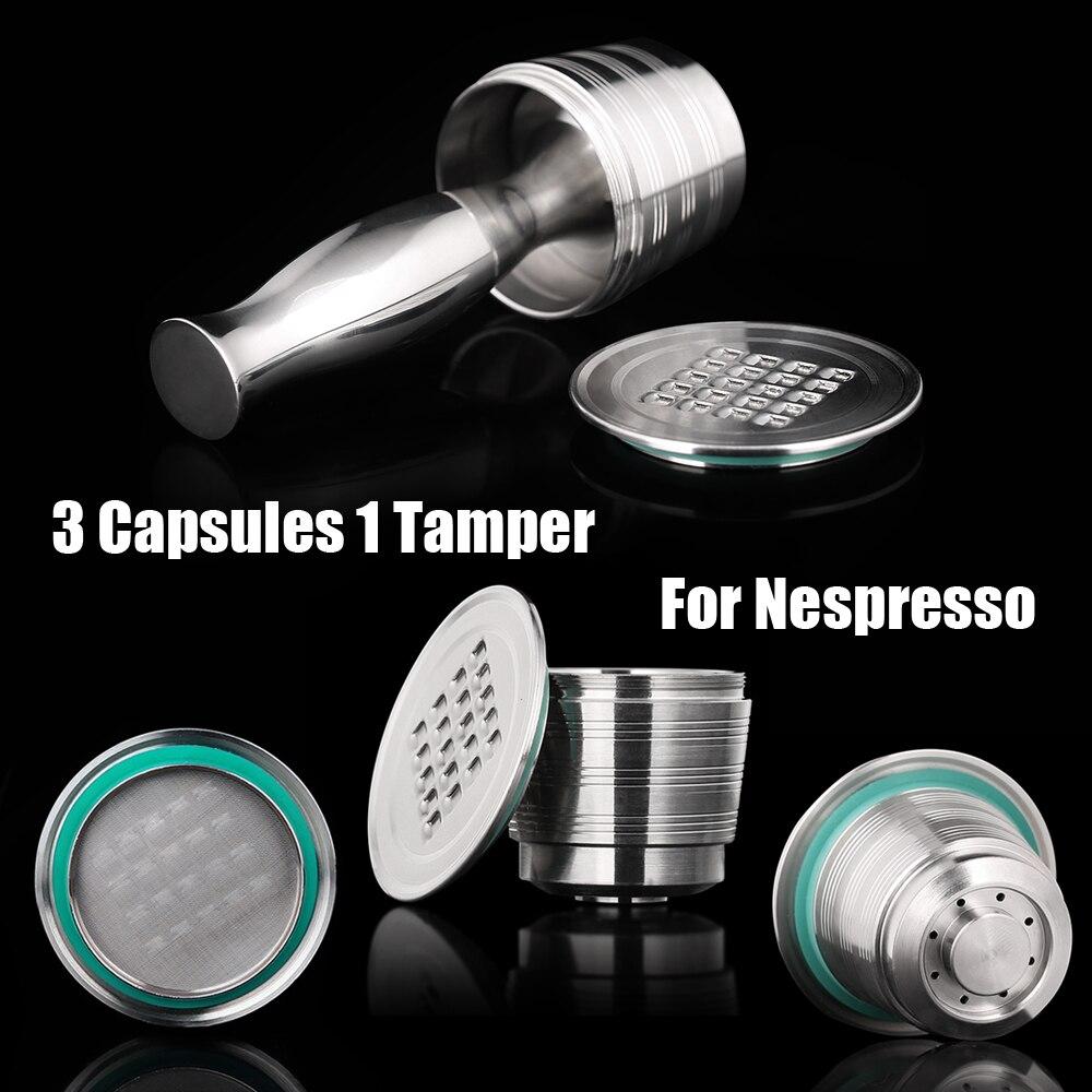 스테인레스 스틸 네스프레소 리필 가능한 커피 캡슐 탬퍼 재사용 가능한 카페 포드 기계 액세서리 주방 비즈니스 크리스마스 선물