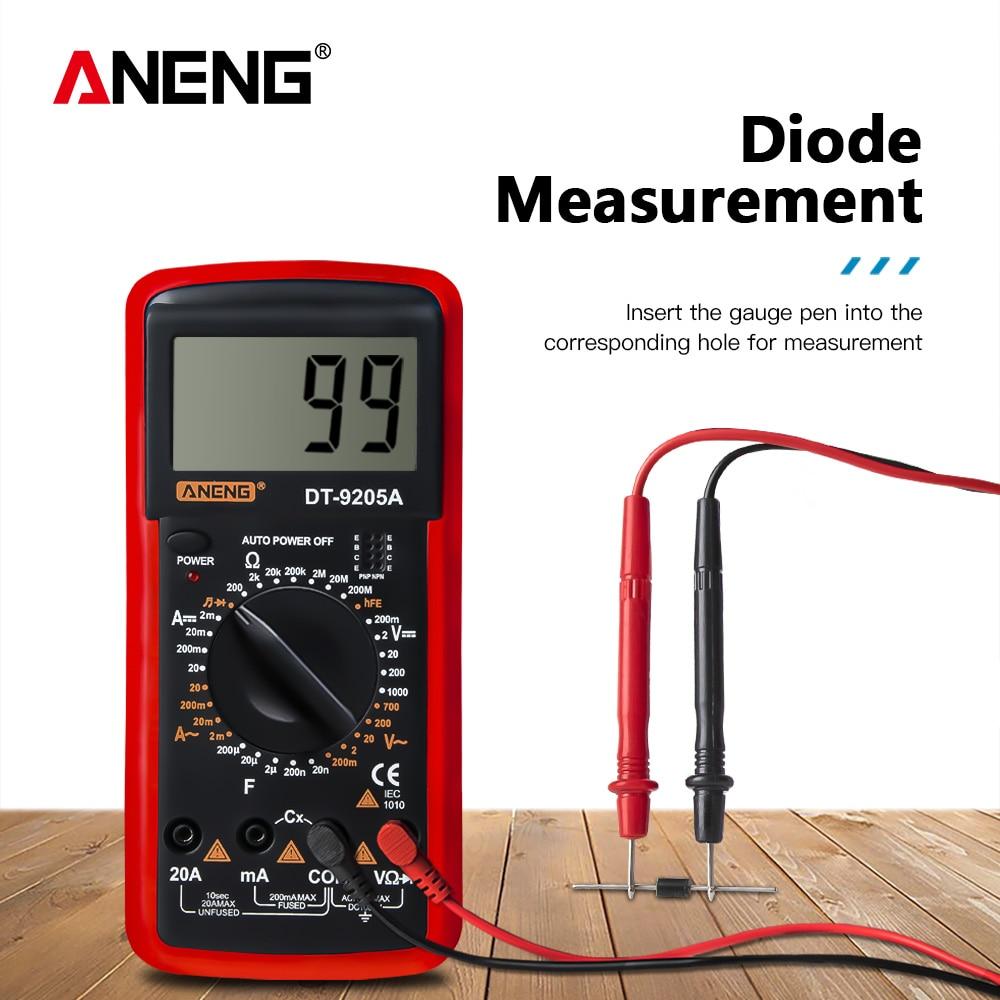 DT9205A LCD Digital Multimeter Electric Handheld Ammeter Voltmeter Resistance Capacitance AC DC Power Meter Tester