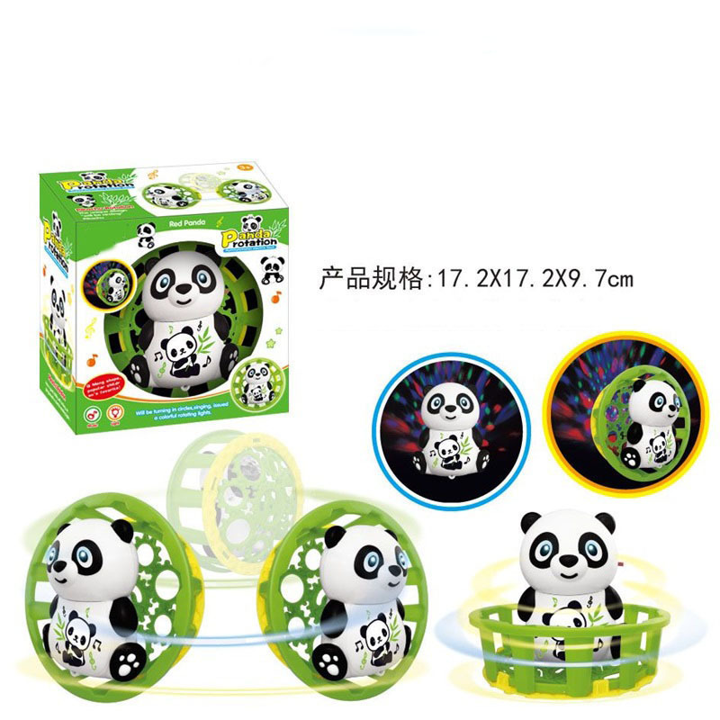 Stall Hot Selling Multi-functional Rotating Lighting Panda Cartoon Educational Simulated Animal Electric Toy Car