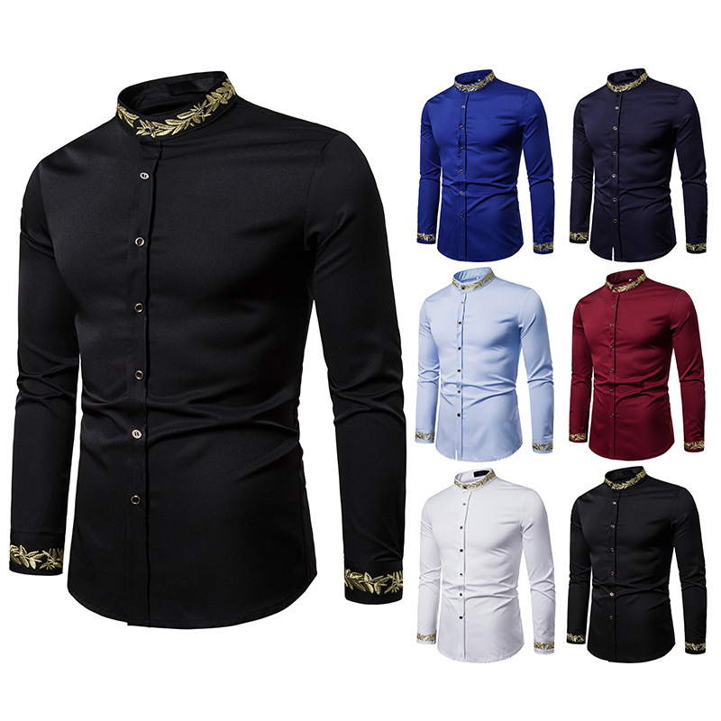 Men's Fashion Embroidered Shirt Simple Style Shirt Pattern Embroidery Henry Collar Long Sleeve Shirt High Quality Shirt