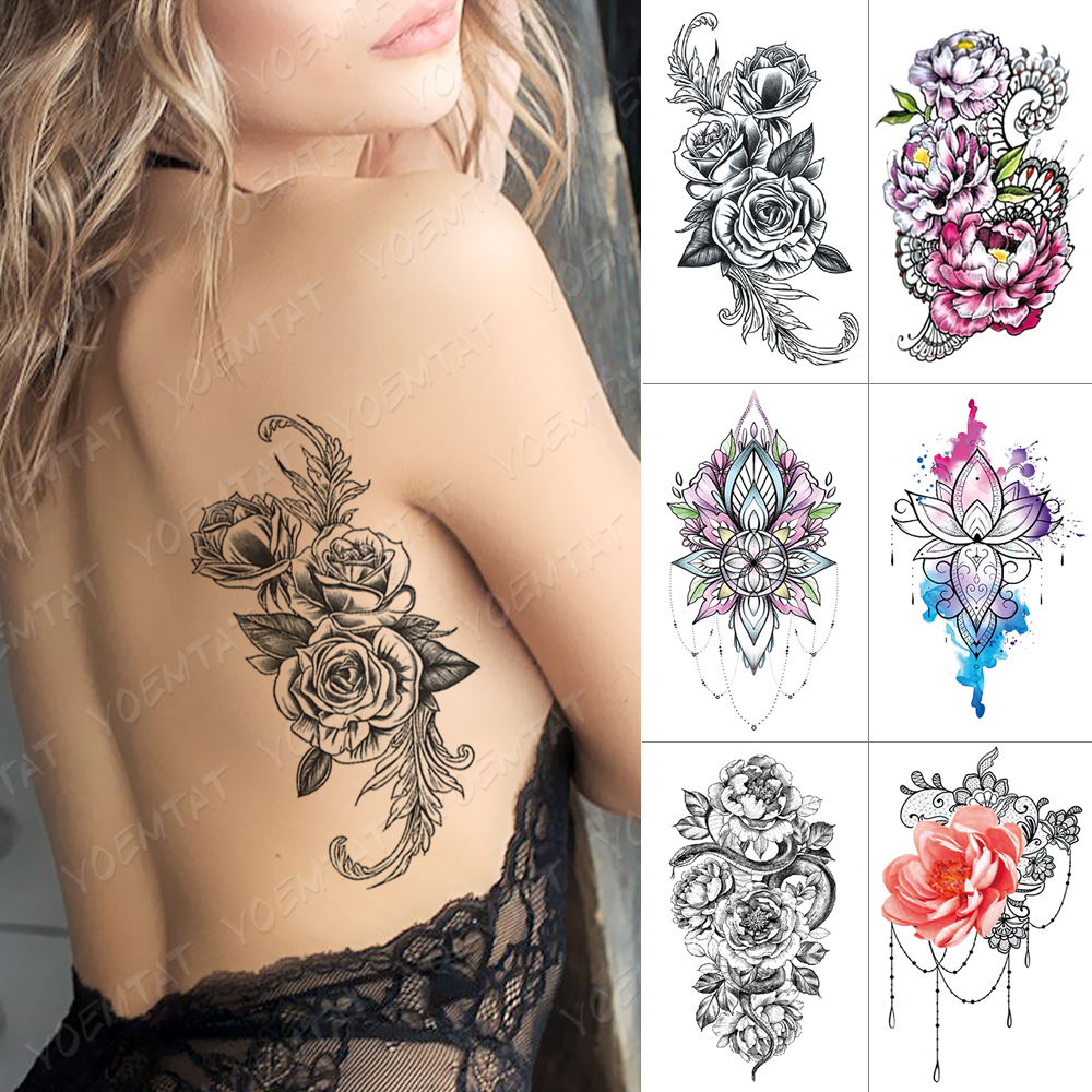 Waterproof Temporary Tattoo Sticker Rose Feather Dreamcatcher Flash Tattoos Lace Snake Peony Body Art Arm Fake Tatoo Women Men